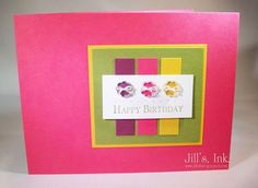 I LOVE the bright, bright colors and the tiny buttons on this handmade Birthday card!