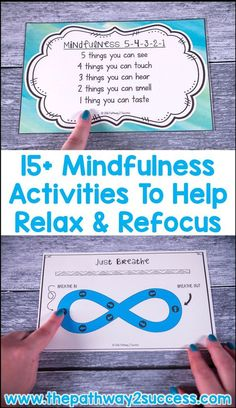 Use mindfulness activities to help relax and focus kids and young adults. Mindfulness helps us focus just on the present, instead of worrying about the past or the future. This is a critical skill to help kids and young adults gain control of their own emotions, feel calmer, and improve confidence over time. #mindfulness #mentalhealth