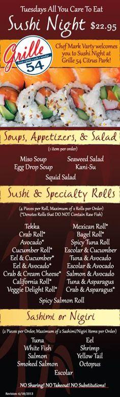 Our new Tuesday Night #Sushi Menu Fresh Press Studios designed.  Download the menu here: http://eatatthegrille.com/wp-content/uploads/2012/07/Grille-54-Tuesday-Night-Sushi-Menu-6-18-13.pdf