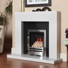 simple gas fireplace mantel designs - Google Search