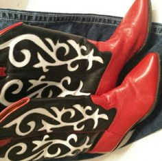Cute  cowgirl boots Red with black and white design. Slight scuff mark on inside of one shoe. Shoes Ankle Boots & Booties