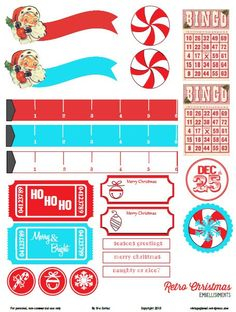Planner & Journaling Printables Free Printable Retro Christmas Embellishments from Vintage Glam Studio