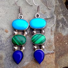 """Vintage Turquoise Malachite Lapis .925 Earrings 2.25"""" Long, 9/16"""" Wide, marked .925 and Mexico, Cabochons are full bezel set and Earrings are solid Sterling in the back, 14.5g Vintage Mexico Jewelry Earrings"""