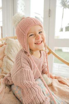 Girls Winter Pom Pom Beanie Dusty Pink Hanging Pom Poms, Baby Girl Accessories, Dusty Pink, Snug, Lounge Wear, Little Girls, Crochet Hats, Beanie, Wool