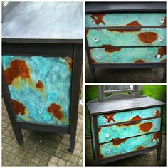 Patina look on dresser finished with Modern Masters Metal Effects Hand Painted Dressers, Hand Painted Furniture, Refurbished Furniture, Paint Furniture, Repurposed Furniture, Furniture Projects, Furniture Makeover, Cool Furniture, Bespoke Furniture