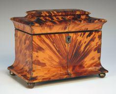 Regency Tortoiseshell Tea Caddy w/ pewter stringing, Pagoda molded lid, Brass ball feet...