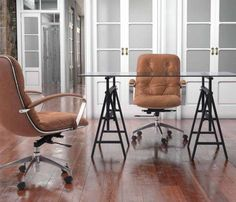 Meubles de bureau, home office, chaise en cuir