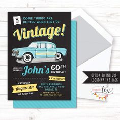 60th birthday invitation, 65th birthday invitation, Invitation for Men, 70th birthday, Classic Car, Surprise birthday, For Men, PRINTABLE by PaperFoxStudios on Etsy https://www.etsy.com/ca/listing/504722418/60th-birthday-invitation-65th-birthday