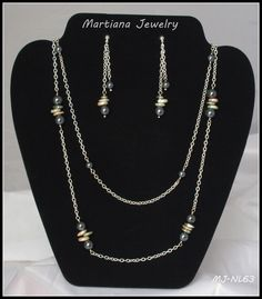 Multi strand Necklace and Ear Dangle Set martianajewelry.etsy.com