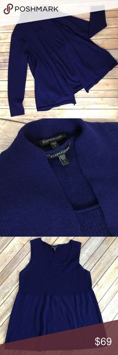 Eileen Fisher Purple/Blue Sweater Set L Gorgeous blue-ish purple sweater set in  light weight wool, ideal for transition from early fall through winter. Size L see measurements in photos. Eileen Fisher Sweaters Cardigans