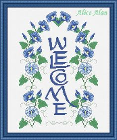 Cross Stitch Pattern Sampler Welcome word framed by arch blue creepers designed by me, so you have a unique opportunity to get an exclusive product.  Colors – 8  Fabric: 14 count White Aida Stitches: 117 x 176 Size: 8.36 x 12.57 inches or 21.23 x 31.93 cm Colours: DMC Fabric: 16 count White Aida Stitches: 117 x 176 Size: 7.31 x 11.00 inches or 18.57 x 27.94 cm Colours: DMC PDF Pattern includes:  1. Enlarged Chart of the Design in Color coded symbols and in Black and White symbols. 2. List…