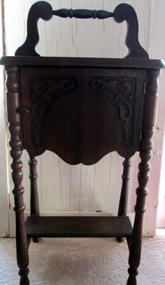 Antique tobacco cabinet cigar pipe tobacco stand table hardwood ...
