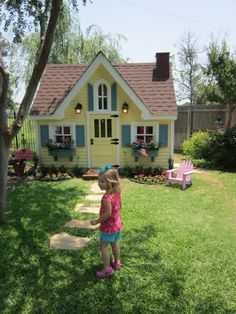 25 Amazing Outdoor Playhouse Ideas to Keep Your Kids Occupied! Outside Playhouse, Backyard Playhouse, Build A Playhouse, Playhouse Ideas, Cubby Houses, Play Houses, Mix And Match Family, Mix Match, Wendy House