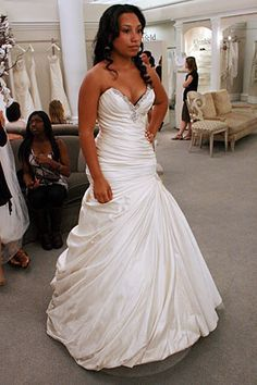 fit and flare ruched wedding dress say yes to the dress - Google Search
