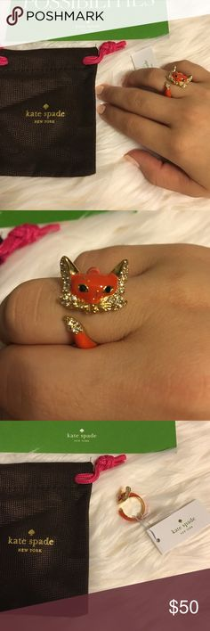 Kate Spade Into The Woods Fox Ring Kate spade into the woods fox ring.  Size 7.  DETAILS: 12-karat gold plated medal -glass stones  -slides on  -weight 9.11 g   No trades No lowballing ✅Bundle Discount  Authentic items  Ask about using Ⓜ️erc! kate spade Jewelry Rings