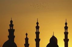 """Birds fly over mosques during sunset in Old Cairo December 22, 2012. EUTERS/Amr Abdallah Dalsh""  [Slide 6 of 24]"