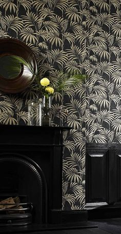 Palm leaf print wallpaper in black and gold, pink, duck egg blue and silver