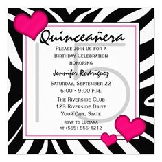 Black White Pink Zebra Quinceañera 15 Party Personalized Invite