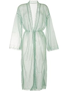 Light green sheer floral lace coat from Mame Kurogouchi featuring collarless, long sleeves, belted waist, lightweight construction, mid-length and straight hem. Green Coat, Boho Fashion, Fashion Design, Coat Dress, Floral Lace, Mid Length, Boutique, Long Sleeve, Construction