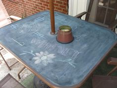 Chalkboard table Glass table top Patio table and Chalkboard paint