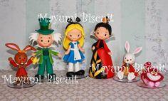 Mayumi Biscuit: Alice no País das Maravilhas, Lebre de Março, Chapeleiro Maluco, Rainha de copas, Coelho branco e Gato de Cheshire
