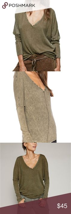 Free People Santa Cruz Henley New with tags, free people slouchy v-neck Henley in moss color as best seen in first two pics. Cotton linen blend. Current FP line Free People Tops Tees - Long Sleeve