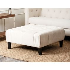 Abbyson Living Florence Cream Square Tufted Ottoman | Overstock.com Shopping - The Best Deals on Ottomans