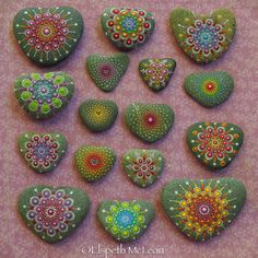 Loveheart mandala stone collection by Elspeth McLean #valentinesday #love #dotillism