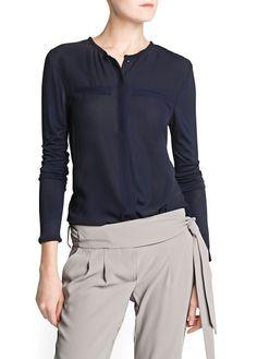 Contrast back flowy blouse