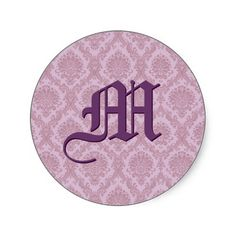 #Purple #Damask #Wedding #Monogram #Sticker