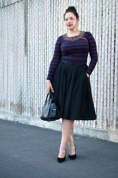 Casually Dressed-Up - Such a great look! So effortlessly chic, and a great update to a very lady-like vintage look.  And one of my favorite styles to wear! Throw on some flats for running around during the day, and go to evening with some Statement earrings