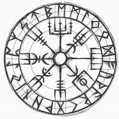 Vegvisir Magic Compass of Vikings Runic Talisman Vector Image Viking Tattoo Symbol, Norse Tattoo, Viking Tattoo Design, Celtic Tattoos, Viking Tattoos, Wiccan Tattoos, Inca Tattoo, Indian Tattoos, Samoan Tattoo
