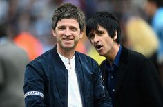 Noel Gallagher and Johnny Marr celebrate at the end of the Barclays Premier League match between Manchester City and West Ham United at the Etihad Stadium on May 2014 in Manchester, England. Get premium, high resolution news photos at Getty Images Premier League News, Premier League Champions, Barclay Premier League, Premier League Matches, Noel Gallagher, Oasis, Johnny Marr, Britpop, Bands