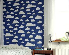 Self adhesive vinyl temporary removable wallpaper, wall decal - Blue sky  print  - 031
