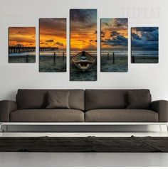 Boat in the Sunset Painting - 5 Piece Canvas