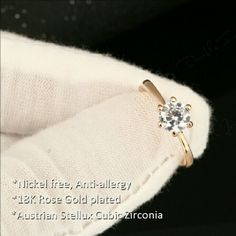 18KRGP 1 Carat Austrian CZ Ring New 18k Rose Gold Plated  Copper Alloy Jewelry Rings