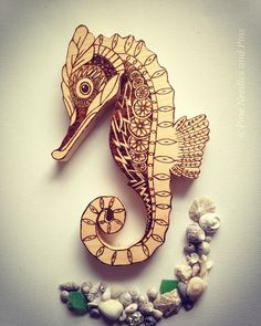 Seahorse wood art decor wall hanging ocean by PineNeedlesandPins