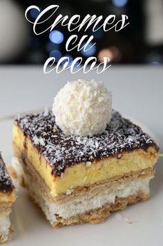 cremes cu cocos Ice Cream Recipes, Pie Recipes, Dessert Recipes, Romanian Desserts, Cake Bars, Pastry Cake, Chocolate Recipes, Coco, Sweet Treats