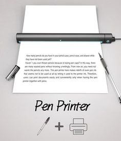Pen Printer by Tae-jin Kim & Su-in Kim - Abandoned pens and other such stationery stand a chance at purposeful usage, thanks to the Pen Printer. The device uses the ink from discarded pens to print on paper. | Yanko Design