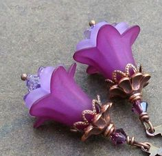 Violet Plum Lucite Flower Earrings Antique Copper by DesignsbyCher, $22.00