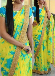 Buy Yellow Shibori Printed Georgette Saree online in India at best price.Step out in style adorning this beautiful yellow - blue saree. This georgette saree look has been enhanced Shibori Sarees, Georgette Sarees, Chiffon Saree, Half Saree Designs, Blouse Designs Silk, Blouse Models, Saree Models, Saree Trends, Designer Sarees Online