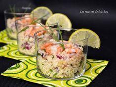 Verrines de taboulé au crevettes, citron vert et oignon rouge