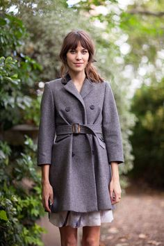 STREET STYLE SPRING 2013: LONDON FW - Alexa Chung gets cinched in a well-tailored classic coat.