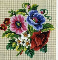 Basket with Roses Counted Cross Stitch Kit - x 14 count Cross Stitch Rose, Cross Stitch Flowers, Cross Stitch Embroidery, Cross Stitch Designs, Cross Stitch Patterns, Vintage Cross Stitches, Needlepoint Stitches, Brazilian Embroidery, Embroidery Patterns Free