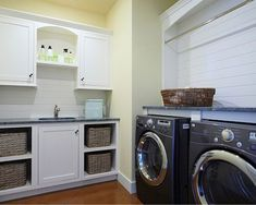 pottery barn laundry rooms | Black and white laundry room design Modern laundry room design ideas ...