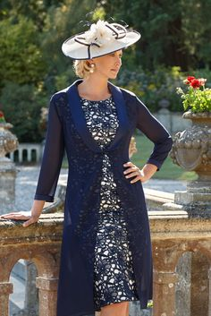 Condici 11290 Shift Style Dress with Georgina Coat in Alabaster/Navy