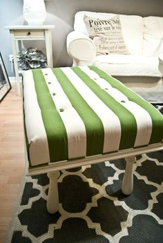 DIY Ottoman tutorial. Something like this to fit at the bottom of our bed to hold the blankets in the summer and double as a seat and storage drawers underneath.