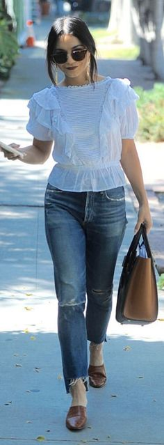 Vanessa Hudgens in Shirt – Isabel Marant  Jeans – Citizens of Humanity  Purse – Celine  Shoes – By Far Shoes