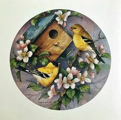 Bird Painting Acrylic, Bunny Painting, China Painting, Acrylic Art, Painting On Wood, Watercolor Art, Round Canvas, Bird Artwork, Bird Drawings