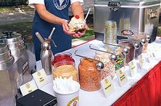 Ice Cream Bar Wedding/ Marble Slab. Not too difficult to do yourself since the ice cream is just held in a cooler.
